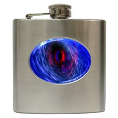 Blue Red Eye Space Hole Galaxy Hip Flask (6 Oz) by Mariart