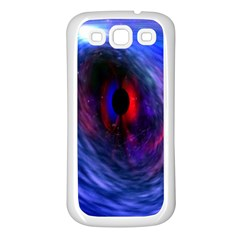 Blue Red Eye Space Hole Galaxy Samsung Galaxy S3 Back Case (white) by Mariart