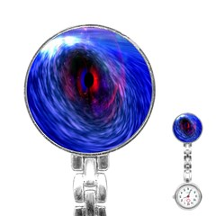 Blue Red Eye Space Hole Galaxy Stainless Steel Nurses Watch by Mariart
