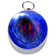 Blue Red Eye Space Hole Galaxy Silver Compasses by Mariart