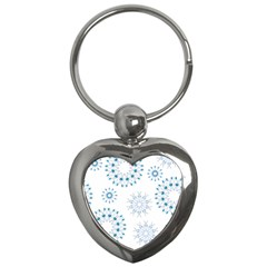 Blue Winter Snowflakes Star Triangle Key Chains (heart)  by Mariart