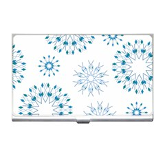 Blue Winter Snowflakes Star Triangle Business Card Holders by Mariart