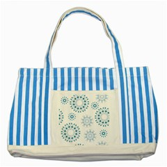 Blue Winter Snowflakes Star Triangle Striped Blue Tote Bag by Mariart