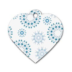 Blue Winter Snowflakes Star Triangle Dog Tag Heart (one Side) by Mariart