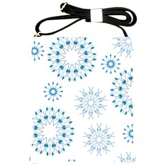 Blue Winter Snowflakes Star Triangle Shoulder Sling Bags by Mariart