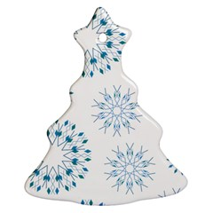 Blue Winter Snowflakes Star Triangle Christmas Tree Ornament (two Sides) by Mariart