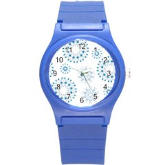 Blue Winter Snowflakes Star Triangle Round Plastic Sport Watch (s) by Mariart