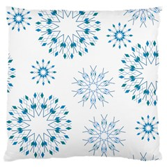 Blue Winter Snowflakes Star Triangle Large Cushion Case (two Sides) by Mariart