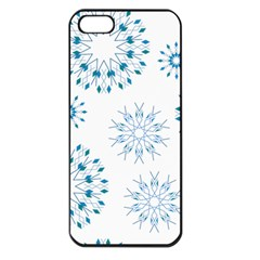 Blue Winter Snowflakes Star Triangle Apple Iphone 5 Seamless Case (black) by Mariart