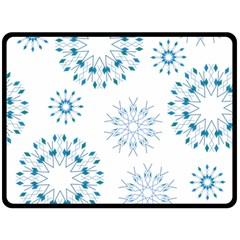 Blue Winter Snowflakes Star Triangle Double Sided Fleece Blanket (large)  by Mariart