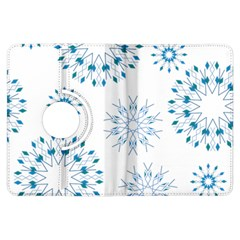 Blue Winter Snowflakes Star Triangle Kindle Fire Hdx Flip 360 Case by Mariart