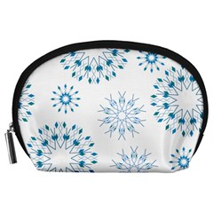Blue Winter Snowflakes Star Triangle Accessory Pouches (large)  by Mariart
