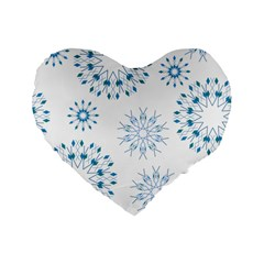Blue Winter Snowflakes Star Triangle Standard 16  Premium Flano Heart Shape Cushions by Mariart