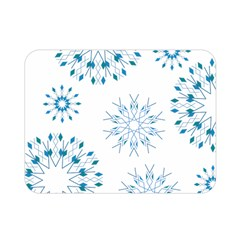 Blue Winter Snowflakes Star Triangle Double Sided Flano Blanket (mini)  by Mariart