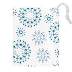 Blue Winter Snowflakes Star Triangle Drawstring Pouches (xxl) by Mariart