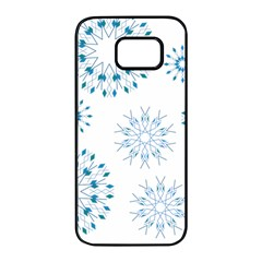 Blue Winter Snowflakes Star Triangle Samsung Galaxy S7 Edge Black Seamless Case by Mariart