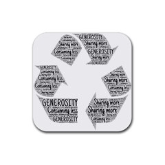Recycling Generosity Consumption Rubber Square Coaster (4 Pack)  by Nexatart
