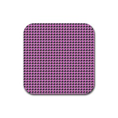 Pattern Grid Background Rubber Square Coaster (4 Pack)