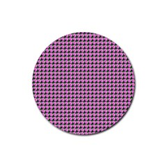 Pattern Grid Background Rubber Coaster (round)