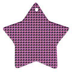 Pattern Grid Background Star Ornament (two Sides)
