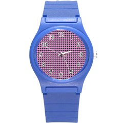 Pattern Grid Background Round Plastic Sport Watch (s)