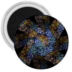 Multi Color Tile Twirl Octagon 3  Magnets by Nexatart