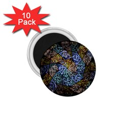 Multi Color Tile Twirl Octagon 1 75  Magnets (10 Pack)