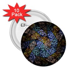 Multi Color Tile Twirl Octagon 2 25  Buttons (10 Pack)