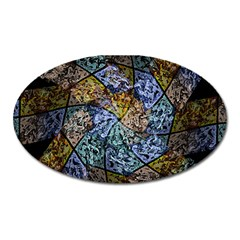 Multi Color Tile Twirl Octagon Oval Magnet by Nexatart