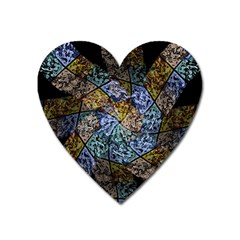 Multi Color Tile Twirl Octagon Heart Magnet by Nexatart