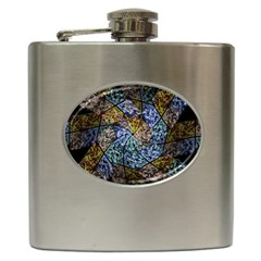 Multi Color Tile Twirl Octagon Hip Flask (6 Oz)