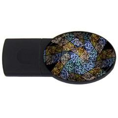 Multi Color Tile Twirl Octagon Usb Flash Drive Oval (2 Gb)