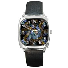 Multi Color Tile Twirl Octagon Square Metal Watch