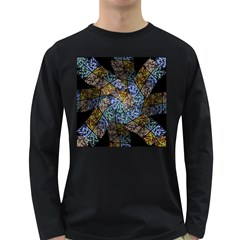 Multi Color Tile Twirl Octagon Long Sleeve Dark T Shirts