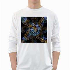 Multi Color Tile Twirl Octagon White Long Sleeve T Shirts