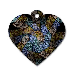 Multi Color Tile Twirl Octagon Dog Tag Heart (one Side)