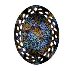 Multi Color Tile Twirl Octagon Oval Filigree Ornament (two Sides)