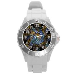 Multi Color Tile Twirl Octagon Round Plastic Sport Watch (l)