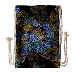 Multi Color Tile Twirl Octagon Drawstring Bag (large)