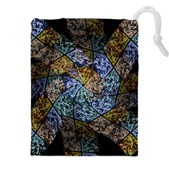 Multi Color Tile Twirl Octagon Drawstring Pouches (xxl) by Nexatart