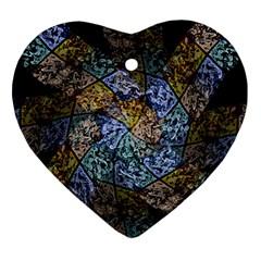 Multi Color Tile Twirl Octagon Ornament (heart)