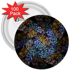Multi Color Tile Twirl Octagon 3  Buttons (100 Pack)