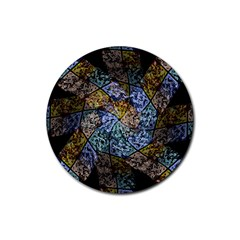 Multi Color Tile Twirl Octagon Rubber Coaster (round)  by Nexatart