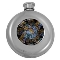 Multi Color Tile Twirl Octagon Round Hip Flask (5 Oz)