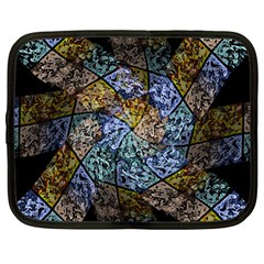Multi Color Tile Twirl Octagon Netbook Case (large)