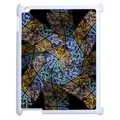 Multi Color Tile Twirl Octagon Apple Ipad 2 Case (white)