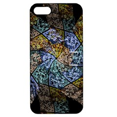 Multi Color Tile Twirl Octagon Apple Iphone 5 Hardshell Case With Stand