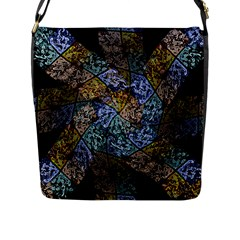 Multi Color Tile Twirl Octagon Flap Messenger Bag (l)  by Nexatart