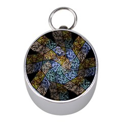 Multi Color Tile Twirl Octagon Mini Silver Compasses by Nexatart