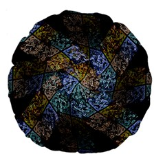Multi Color Tile Twirl Octagon Large 18  Premium Flano Round Cushions by Nexatart